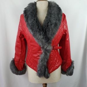 Fashion faux fur red pleather jacket, Small